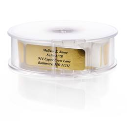 Personalized Shiny Gold Rolled Name & Address Labels with Elegant Plastic Dispenser