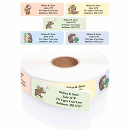Bears Designer Assorted Rolled Address Labels with Elegant Plastic Dispenser