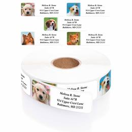 Photo Puppies Designer Assorted Rolled Address Labels with Elegant Plastic Dispenser
