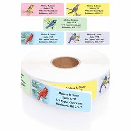Birds Designer Assorted Rolled Address Labels with Elegant Plastic Dispenser