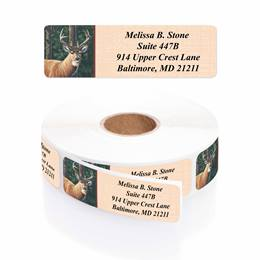Deer Designer Rolled Address Labels with Elegant Plastic Dispenser