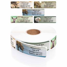 Nature's Wildlife Assorted Designer Rolled Address Labels with Elegant Plastic Dispenser