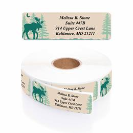 Brushed Moose Designer Rolled Address Labels with Elegant Plastic Dispenser