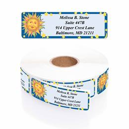 Celestial Blue Designer Rolled Address Labels with Elegant Plastic Dispenser