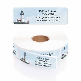 Lighthouse Designer Rolled Name & Address Labels with Elegant Plastic Dispenser