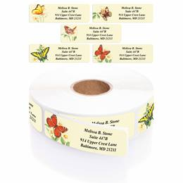 Garden Butterflies Designer Assorted Rolled Address Labels with Elegant Plastic Dispenser