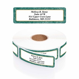 Green Marble Designer Rolled Name & Address Labels with Elegant Plastic Dispenser