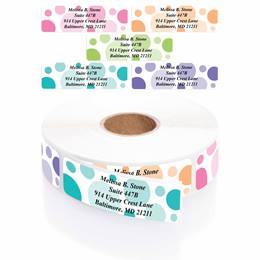 Bright Graphic Dots Designer Assorted Name & Address Labels with Elegant Plastic Dispenser