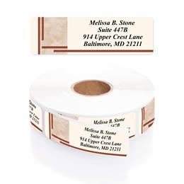Brown Marble Designer Rolled Address Labels with Elegant Plastic Dispenser