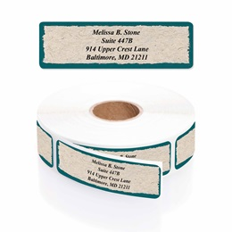 Natural Parchment Rolled Address Labels with Elegant Plastic Dispenser