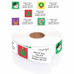 Holiday Symbols Designer Assorted Rolled Address Labels with Elegant Plastic Dispenser
