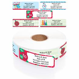 Trendy Christmas Designer Assorted Rolled Address Labels with Elegant Plastic Dispenser