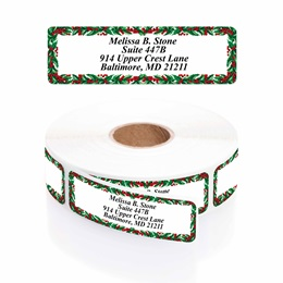 Holly Border Designer Rolled Address Labels with Elegant Plastic Dispenser