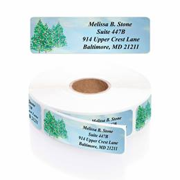 Wintergreen Trees Designer Rolled Address Labels with Elegant Plastic Dispenser