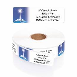 Star of Wonder Designer Rolled Address Labels with Elegant Plastic Dispenser