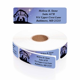 Christ's Crèche Designer Rolled Address Labels with Elegant Plastic Dispenser