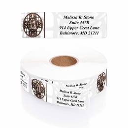 Window of Faith Designer Rolled Address Labels with Elegant Plastic Dispenser
