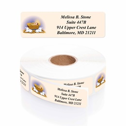 He is Born Designer Rolled Address Labels with Elegant Plastic Dispenser