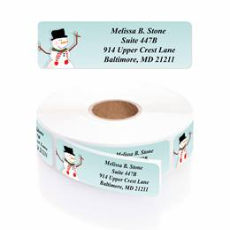 Cozy Snowman Designer Rolled Address Labels with Elegant Plastic Dispenser
