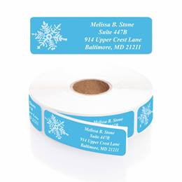 White Snowflake Designer Rolled Address Labels with Elegant Plastic Dispenser