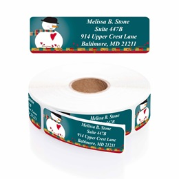 Country Snowman Designer Rolled Address Labels with Elegant Plastic Dispenser