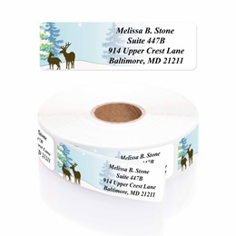 Festive Deer Designer Rolled Address Labels with Elegant Plastic Dispenser