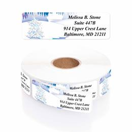 Wonderland in Winter Designer Rolled Address Labels with Elegant Plastic Dispenser