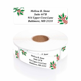 Holly Jolly Holiday Designer Rolled Address Labels with Elegant Plastic Dispenser