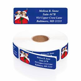 Christmas Cuddle Designer Rolled Address Labels with Elegant Plastic Dispenser