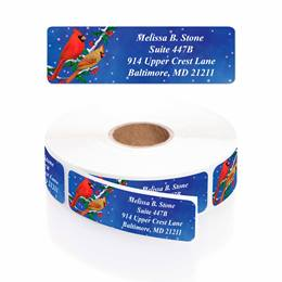 Holiday Cardinals Designer Rolled Address Labels with Elegant Plastic Dispenser