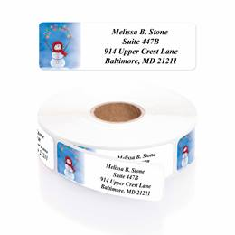 String Me Along Snowman Designer Rolled Address Labels with Elegant Plastic Dispenser