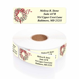 Holly Wreath Designer Rolled Address Labels with Elegant Plastic Dispenser