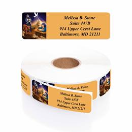 Divine Child Designer Rolled Address Labels with Elegant Plastic Dispenser