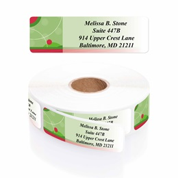 Green Holiday Dots Designer Rolled Address Labels with Elegant Plastic Dispenser