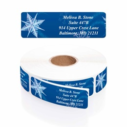 Whirling Snowflakes Designer Rolled Address Labels with Elegant Plastic Dispenser