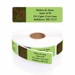 Festive Blessing Designer Rolled Address Labels with Elegant Plastic Dispenser