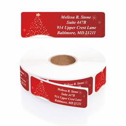 Christmas Shine Designer Rolled Address Labels with Elegant Plastic Dispenser