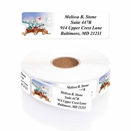 Creature Comforts Designer Rolled Address Labels with Elegant Plastic Dispenser