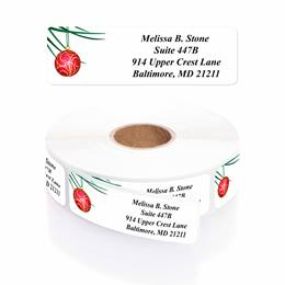 Festive Flair Designer Rolled Address Labels with Elegant Plastic Dispenser