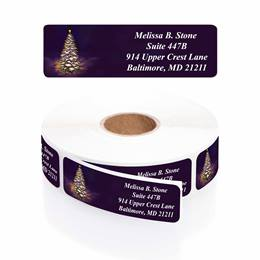 Let It Glow Designer Rolled Address Labels with Elegant Plastic Dispenser