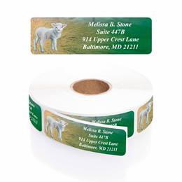 A True Miracle Designer Rolled Address Labels with Elegant Plastic Dispenser