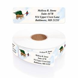 Christmas in the Country Designer Rolled Address Labels with Elegant Plastic Dispenser