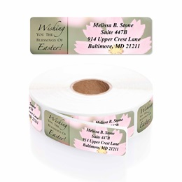 Easter Bloom Blessings Designer Rolled Address Labels with Elegant Plastic Dispenser