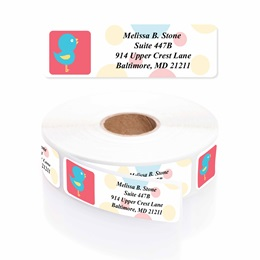 Sweet Tweet Designer Rolled Address Labels with Elegant Plastic Dispenser