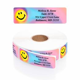Tie Dye Smiley Designer Rolled Address Labels with Elegant Plastic Dispenser