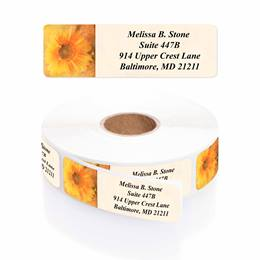 Golden Sunflower Designer Rolled Address Labels with Elegant Plastic Dispenser