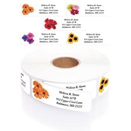 Floral Posy Assorted Rolled Address Labels with Elegant Plastic Dispenser