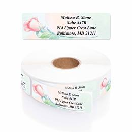 Soft Rose Watercolor Designer Rolled Address Labels with Elegant Plastic Dispenser