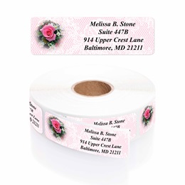 Romantic Rose Designer Rolled Address Labels with Elegant Plastic Dispenser