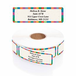 Bright Stripes Designer Rolled Address Labels with Elegant Plastic Dispenser